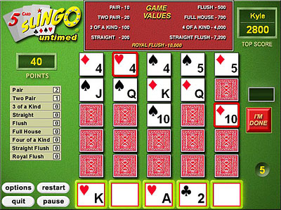 coolstreaming slingo 5 card online